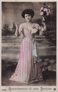 RP: Remerciements et mes Amities, Woman in pretty pink gown holding bouquet...