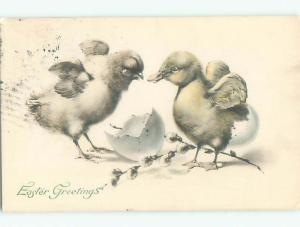 Pre-Linen easter BABY DUCK AND CHICK BOTH FLAPPING THEIR WINGS k2754