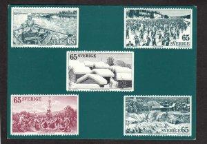 Sverige Facsimiles of postage stamps on front of Postcard Sweden Dalarna