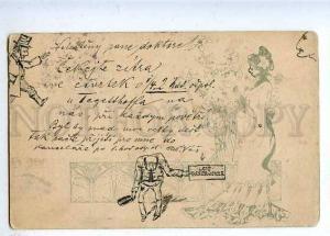 184693 ART NOUVEAU Lady Flowers HAND PAINTED Vintage 1905 PC