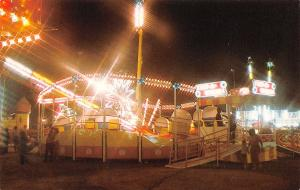 Faribault MN Tilt-A-Whirl @ Night~Amusement Park Ride Maker~Sellner MFG~1970s