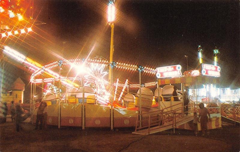 Faribault MN Tilt-A-Whirl @ Night~Amusement Park Ride Maker~Sellner MFG~1970s