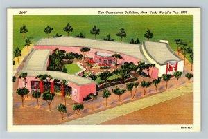 1939 New York World's Fair - The Consumers Building - Linen Postcard