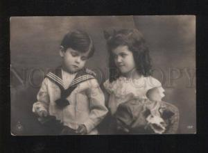 053038 Cute KIDS as SHIP-BOY w/ Toys Vintage PHOTO