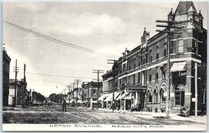 Reed City, Michigan Postcard UPTON AVENUE Downtown Street Scene Albertype c1910s