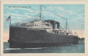 c1910 PERE MARQUETTE Michigan Wisconsin CARFERRY Ship Postcard