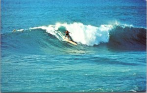 Sunset Beach Hawaii HI Chrome SURF SURFING VINTAGE POSTCARD