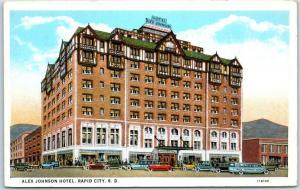 Rapid City, South Dakota Postcard ALEX JOHNSON HOTEL Street View Curteich c1930s