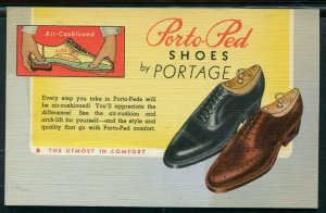 Portage Porto Red Shoes Advertising Postcard Curt Teich Co., sample see back