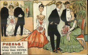 Puzzle Find The Girl Whoe Has Never Been Kissed ES c1910 Postcard
