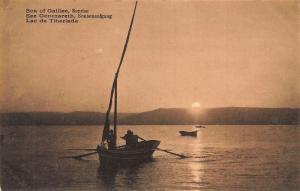 Israel Sea of Galilee Sunrise Boats Postcard