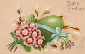 EASTER, 1900-10s; Green Egg with pink flowers, blue ribbon