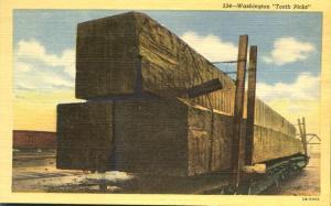 Tooth Picks of Washington - Giant Timbers on Rail Car - Linen