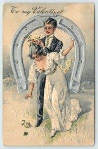 PFB Valentine~Romantic Couple Thru Silver Horseshoe~Flowers Drop from Hair~#5486
