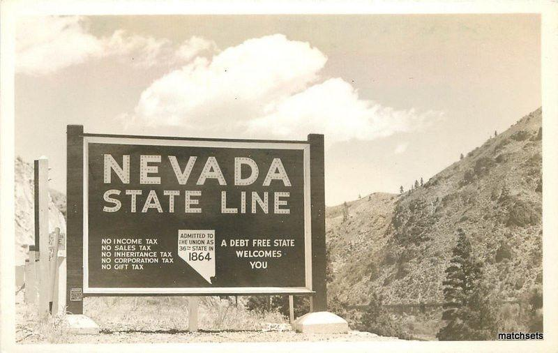 1940s Nevada State Line Roadside signage RPPC real photo California US40 US50
