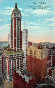 Singer Building & Financial District, New York, N.Y., Early Postcard, Unused