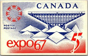 Vintage EXPO 67 Montreal World's Fair Postcard - Stamp Art on Front w/ Cancel