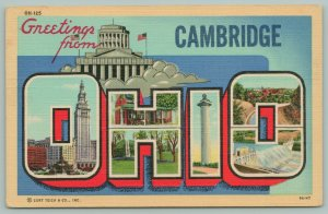Cambridge Ohio~State Capitol~Views in Letters~1940s Large Letter Linen