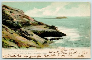 Magnolia MA Rocks Along Shore~Island in Distance~Norman's Woe~Rotograph Postcard