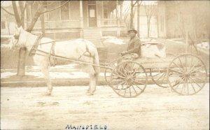 Black Americana Man Horse Wagon GARBAGE? RF Kenney Mansfield RPPC c1910
