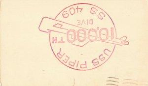 Postcard USS Piper SS 409 10,000 Dive