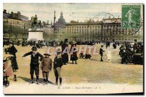 Postcard Old Lyon Place Bellecour Children
