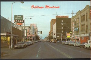 Montana BILLINGS Downtown Street View showing Store Fronts & Older Cars - Chrome
