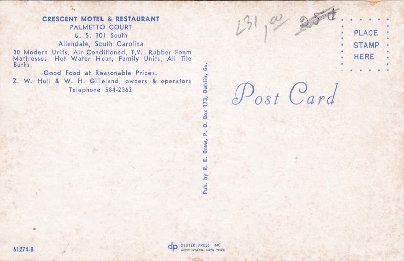 ALLENDALE, South Carolina, 40-60s ; Crescent Motel & Restaurant