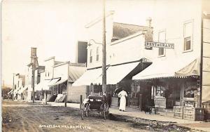 Cadott WI Dirt Street Business District Restaurant Horse & Wagon RPPC Postcard