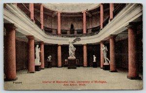 Ann Arbor MI~University of Michigan~Interior Memorial Hall~Statuary~Pillars~1914