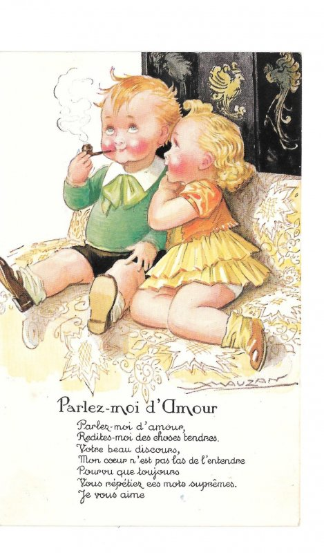 Mauzan French Artist Signed Children Speak to me of Love Parlez D'Amour Postcard