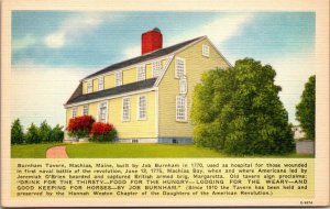 Machias Maine ME Burnham Tavern Postcard Linen Eastern Photo Litho