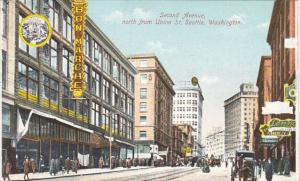 Washington Seattle Second Avenue Looking North From Union Street