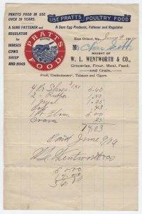 1906 Billhead, PRATTS FOOD, East Orland, Maine