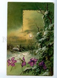 161805 Tinsel VIOLETS in Snow X-MAS vintage colorful PC