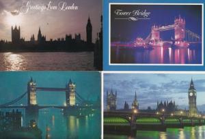 London Tower Bridge At Night Illuminations 4 Postcard s