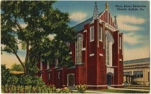 1954 Suffolk VA Main Street St. Methodist Church Virginia Old Linen Era Postcard