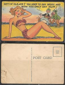 Humor, bikini, girl, two guys talking postcard