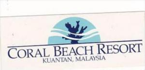 MALAYSIA KUANTAN CORAL BEACH RESORT HOTEL VINTAGE LUGGAGE LABEL