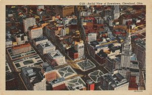 LP13   Cleveland Ohio Postcard Aerial View Downtown