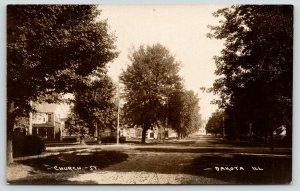 Dakota Illinois~Church Street Homes~Shady Dirt Road~T Intersection~c1910 RPPC