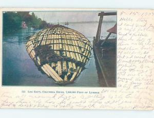 Pre-1907 FORESTRY - LOG RAFT ON COLUMBIA RIVER Postmarked Portland OR hp9059
