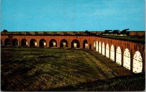 Interior of Fort Pulaski Savannah GA Vintage Postcard