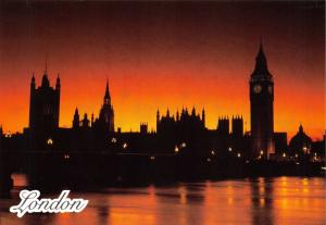 High Quality Glossy Postcard Houses of Parliament, Big Ben at Night, London NEW