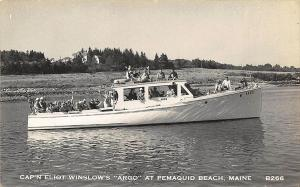 Pemaquid Beach ME Captain Winslow's The Argo Boat RPPC Postcard