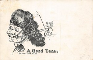 G19/ Interesting Postcard D. Hillson Signed Fantasy Cupid Harness Women 1907