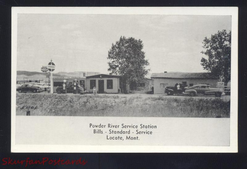 LOCATE MONTANA POWDER RIVER GAS STATION 1940's CARS ADVERTISING POSTCARD B&W