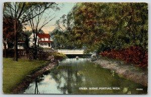 Pontiac Michigan~Bridge Over Creek~Picket Fence~Big Home~1908 Postcard