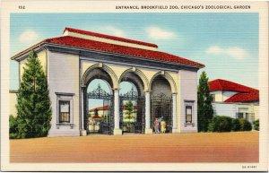 Brookfield Zoo entrance, Chicago, Illinois postcard