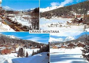 Switzerland Crans-Montana Winter General view Ski Auto Cars Panorama
